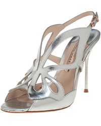 Sophia Webster Silver Leather Madame Butterfly Sandals - Metallic