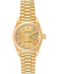Rolex Champagne Diamonds 18k Yellow Gold President Datejust 69178 Wristwatch 26 Mm - Metallic