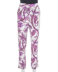 Gucci Purple Abstract Paisley Printed Silk Waist Tie Detail Pants