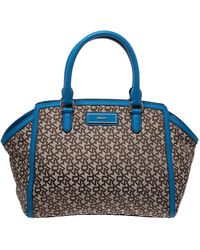 DKNY Beige/blue Monogram Canvas Satchel - Natural