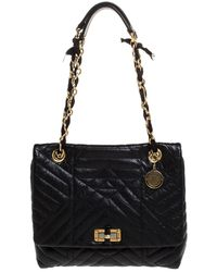 Lanvin Black Quilted Leather Medium Happy Shoulder Bag