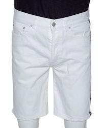 Givenchy White Denim Contrast Logo Tape Detail Shorts