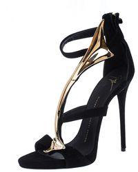 Giuseppe Zanotti Black Suede Embellished Ankle Strap Sandals
