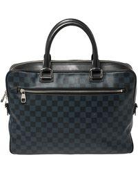 Louis Vuitton Damier Graphite Canvas Steeve Briefcase Bag - Blue
