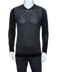 KENZO Bicolor Knit Crewneck Sweater - Grey