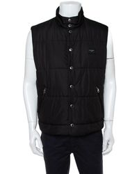 Dolce & Gabbana Black Synthetic Button Front Sleeveless Puffer Vest