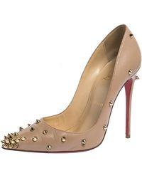 Christian Louboutin Beige Spike Embellished Leather Degraspike Pointed Toe Pumps - Natural