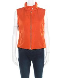 Hermès Sellier Orange Quilted Zip Front Vest