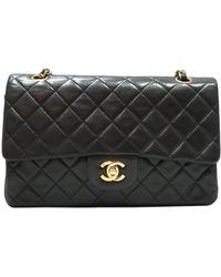 Chanel Black Quilted Caviar Leather Vintage Classic Double Flap Bag