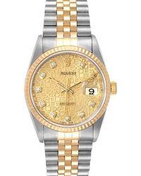 Rolex Champagne Diamonds 18k Yellow Gold Datejust 16233 Wristwatch 36 Mm - Metallic