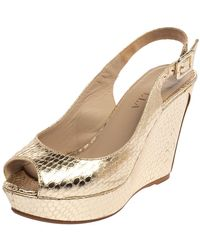 Le Silla Gold Python Embossed Leather Wedge Slingback Sandals - Metallic
