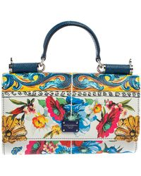 Dolce & Gabbana Multicolour Floral Print Leather Miss Sicily Von Wallet On Chain - Blue