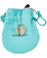 Tiffany & Co. Sterling Silver Heart Tag With Key Pendant Necklace - Metallic