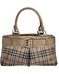 Burberry Beige/gold Haymarket Check Coated Canvas And Leather Bridle Tote - Natural