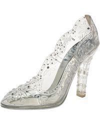 Dolce & Gabbana Silver Pvc Cinderella Crystal Embellished Pumps - Metallic