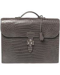 Hermès Graphite Matte Crocodile Porosus Brushed Paladium Sac A Depeches 37 Briefcase - Gray
