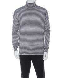 Lanvin Gray Wool Striped Turtle Neck Sweater L