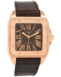 Cartier - Brown 18k Rose Gold Santos 100 Men's Wristwatch 38mm - Lyst