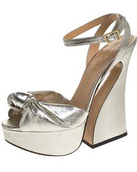 Charlotte Olympia Metallic Silver Lame Fabric Farrah Knot Platform Sandals Size 38