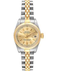 Rolex Champagne 18k Yellow Gold And Stainless Steel Datejust 69173 Wristwatch 26 Mm - Metallic