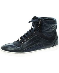 Dior Blue Cannage Leather High Top Trainers Size 38