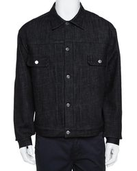 Dior Black Denim Oblique Lined Button Front Jacket