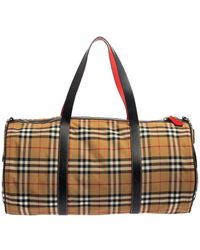 Burberry Black/beige Vintage Check Nylon And Leather Large Barrel Bag