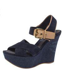 Louis Vuitton Blue Suede And Denim Wedge Sandals