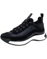 Chanel Black Suede And Nylon Cc Low Top Trainers