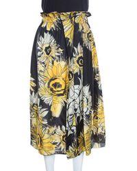 N°21 - Black And Yellow Sunflower Printed Silk Asymmetric Pleat Detail Midi Skirt - Lyst
