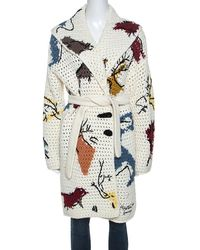 Dior Christian Off White Abstract Knit Chunky Belted Cardigan