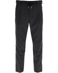 Dolce & Gabbana Black Pinstriped Wool Jogging Pants