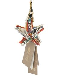 Burberry Crystal Multi Colour Wool And Leather Starfish Motif Gold Tone Bag Charm - Metallic