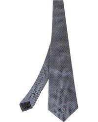 Versace Grey Geometric Motif Jacquard Silk Tie