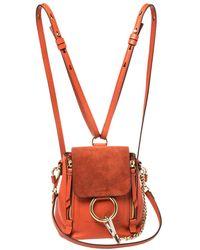 Chloé Orange Leather And Suede Mini Faye Daye Backpack