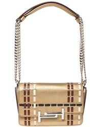 Tod's Gold Leather Mini Double T Shoulder Bag - Metallic