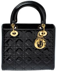 Dior - Black Cannage Patent Leather Medium Lady Tote - Lyst