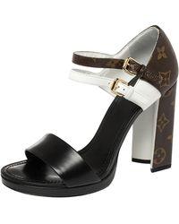 Louis Vuitton Tri Colour Monogram Canvas And Leather Matchmake Sandals - Black
