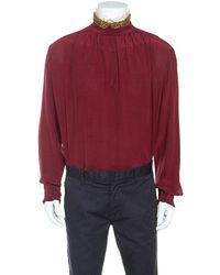 Gucci Burgundy Silk Embellished Collar Ruffle Trim Shirt - Red