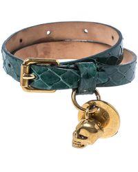 Alexander McQueen Green Snake Skin Crystal Skull Charm Gold Tone Double Wrap Bracelet
