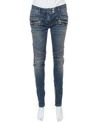 Balmain Dark Blue Denim Ribbed Biker Jeans