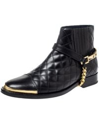 Balmain Black Quilted Leather Chain Details Boots