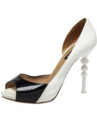 Le Silla - Black/white Patent Leather D'orsay Peep Toe Pumps - Lyst
