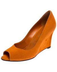 Sergio Rossi Orange Suede Peep Toe Wedge Pumps Size 36.5