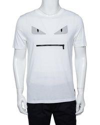 Fendi White Monster Eye Applique Cotton Pocket Bag Detail T-shirt