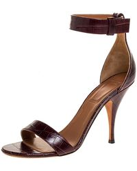 Givenchy Burgundy Croc Embossed Leather Kali Ankle Strap Sandals - Brown