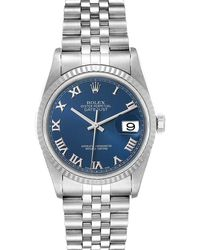 Rolex Blue 18k White Gold And Stainless Steel Datejust 16234 Wristwatch 36 Mm