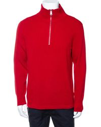 Burberry Red Cashmere Hendon Quarter Zip Sweater