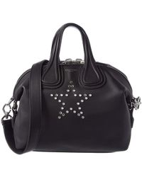 Givenchy - Black Leather Small Star Mirror Rivets Nightingale Top Handle Bag - Lyst