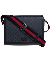 Gucci Black GG Supreme Canvas And Leather Military Messenger Bag